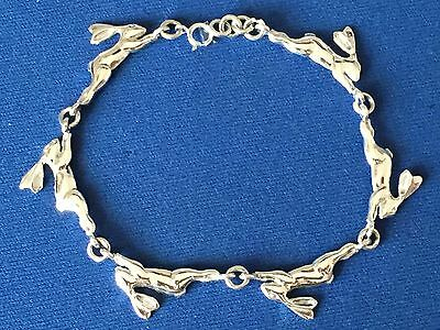 Hare Running With Oak Leaves Bracelet Quality Sterling Silver  .925