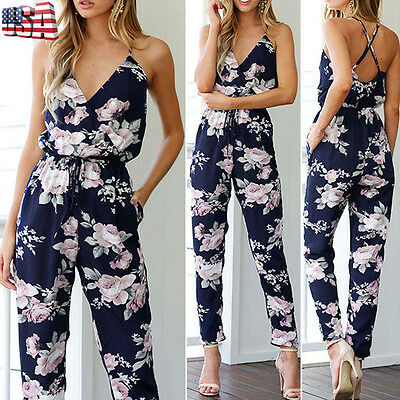 Women Ladies Clubwear V Neck Playsuit Bodycon Party Jumpsuit & Romper Trousers