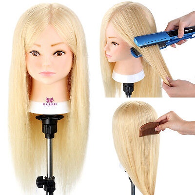 """20""""-22"""" Training head 100% Real Remy Human hair Doll Mannequin Practice + Clamp"""
