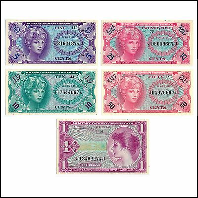 MPC Series 641 5¢ 10¢ 25¢ 50¢ $1 Military Payment Certificates GEM UNCIRCULATED