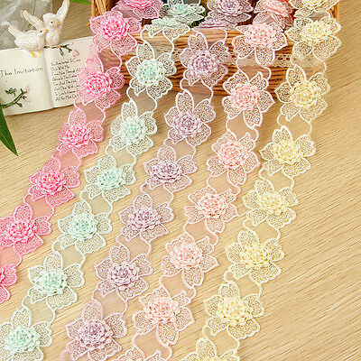 Pearl Flower Embroidered Lace Trim Ribbon Applique Wedding Bridal Sewing 1 Yard