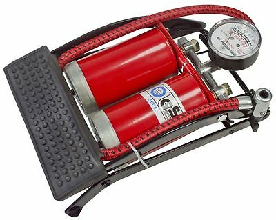 Am-Tech Double Cylinder Footpump With Gauge - For Car Pump Bike Bicycle - I9400