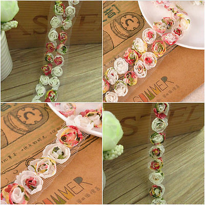 Rose Flower Lace Trim Chiffon Organza Embroidered Ribbon Sewing Applique 1 Yard