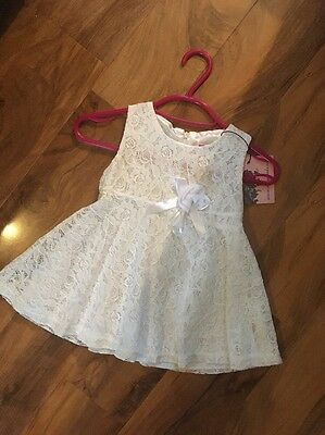 Baby Girls Cream White Party Summer Lace Dress New (8)