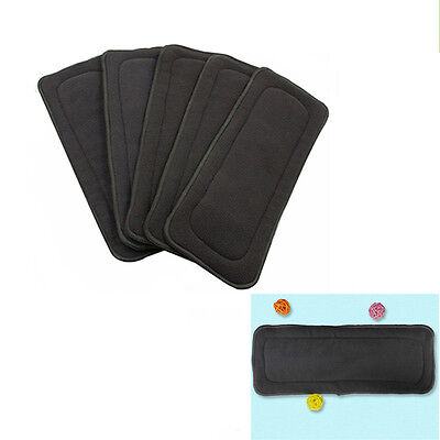 Diaper Baby Bamboo Charcoal Inserts Nappy Washable Cloth 4 Layers Diaper