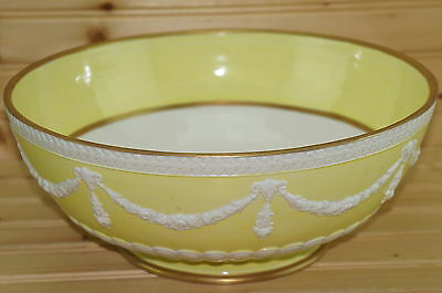 Mottahedeh Large Serving Bowl-Salad- Yellow with White Swags, Gold Trim, 11 5/8""