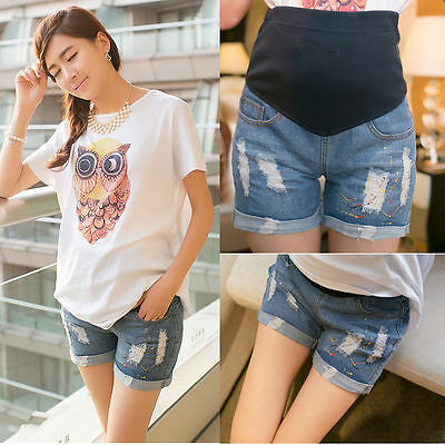 New Maternity Jeans Shorts Over-Bump Pants Trendy Classic Comfy 6 8 10 12 14