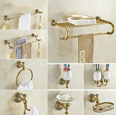 Antique Brass Carved Base Bathroom Accessory Hardware Set Towel Bar Kxz013