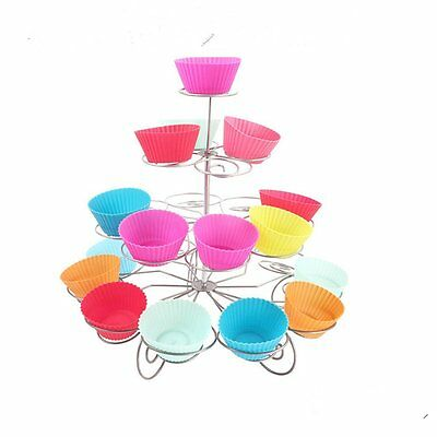 4 Tier 23 Cupcake Stand Holder Metal Spiral Muffin Wedding Birthday Party Decor