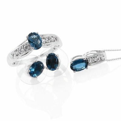 4.15 ct Blue Topaz Platinum Over Silver Earrings Ring Size 7 Pendant With Chain