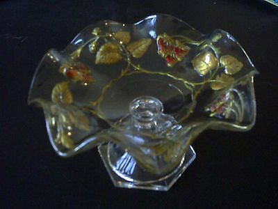 VTG Crystal w/Strawberries&Vines Design Goofus Glass Footed Dish Scalloped Edges