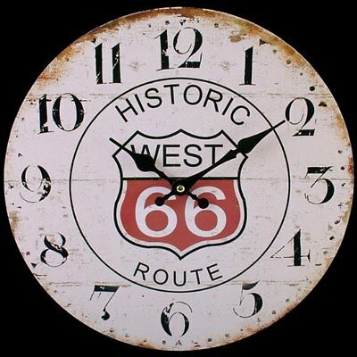 Large Route 66 Wooden Wall Clock Vintage Antique Retro Rustic Style Chic Shabby