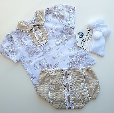 Beautiful Miranda Spanish Baby Boys Shirt and Tan Shorts outfit. New. 12 months