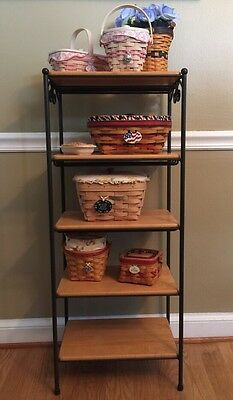 Longaberger Foundry Collection Wrought Iron 5 Tier  5 Wood Shelves No Baskets