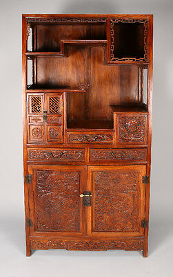 Intricately Carved Chinese Huanghuali Dragon Ettarge Cabinet 74.75  inches