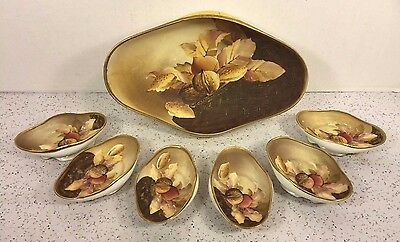 Vintage 7 Piece Nippon Nut Bowl Set Master Serving Bowl Plus 6 Individual Bowls