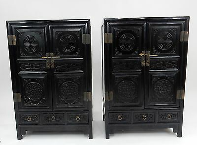 Pair of Antique Chinese ZItan Cabinets 39.5 inches