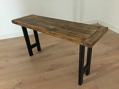 Rustic Solid Wood Farmhouse Bench Reclaimed Pine with Industrial Legs Dining