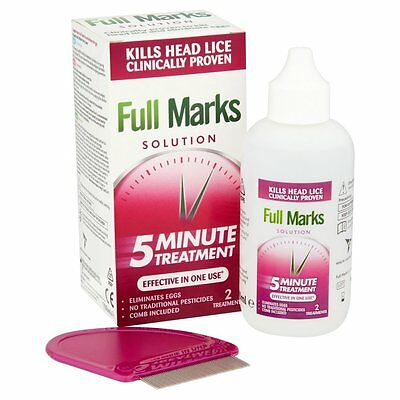 FULL MARKS SOLUTION Head Lice Solution with comb 2 Treatments 100ml *BRAND NEW*