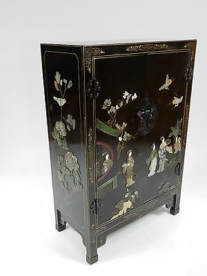 """Chinese Chinoiserie Cabinet with Applied stone carvings. 36"""""""