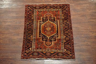 3X5 Antique Tabriz Heriz Persian Birds Hand-Knotted Wool Area Rug 1920's Carpet