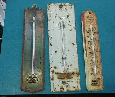 Lot of 3 Vintage Thermometers Awesome Look! Taylor Chaney Advertising Metal