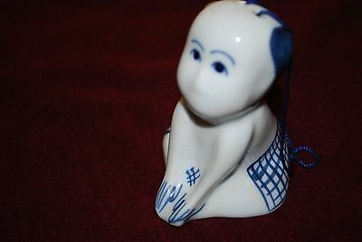 Chinese Buddha Bell Hand Painted Delf Blue