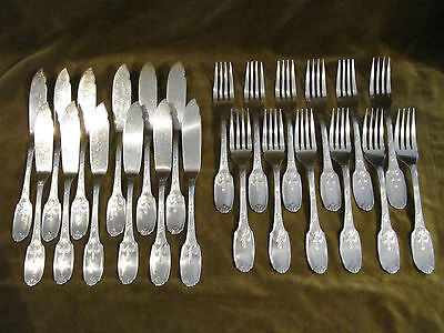 1950 french silver-plate fish forks &knives 24p  Christofle Delafosse empire st