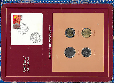 Coin Sets of All Nations Vatican UNC 500, 200, 50 Lire 1989 100 Lire 1988