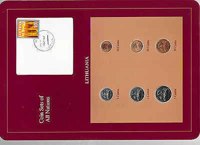 Coin Sets of All Nations Lithuania UNC w/card 1,2,5,10,20,50 Centu 1991