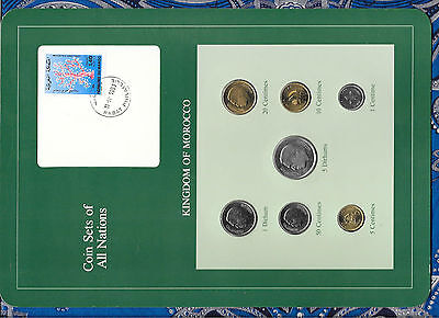 Coin Sets of All Nations Morocco UNC 50,20,10,5,1 Santimat 1974 5 Dirhams 1980
