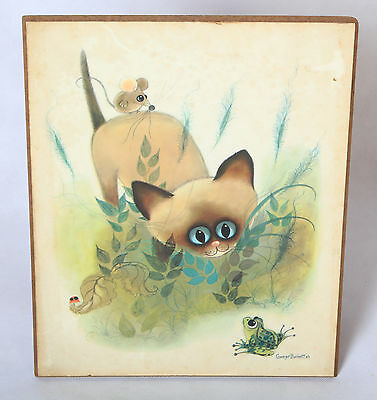 George Buckett 1963 3D layered dimensional Siamese cat FRAMED print DONALD ART