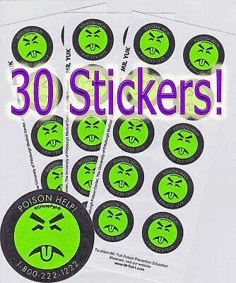 Three Sheets Of Genuine Mr. Yuk Stickers. 30 Stickers Total!  Helps Save Lives!