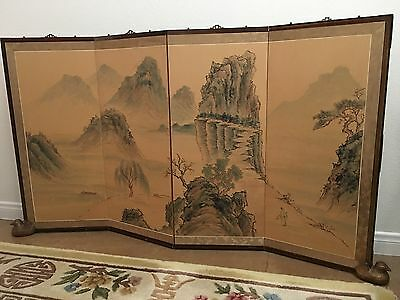 Very Fine Korean 4 Panel Watercolor Screen