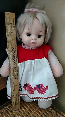 "Vintage 12"" 1979 Playmate Doll music. soft body. blonde hair. blue open/close ey"