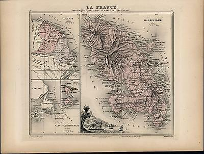 Martinique French Guiana Caribbean France colonies 1886 old antique color map