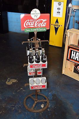 1930s Original Carton Display Rack w/ 4 1950s 6 bottle carriers