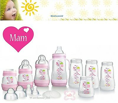 MAM Easy Start 15pc Bottle Starter Set Pink-Brand New