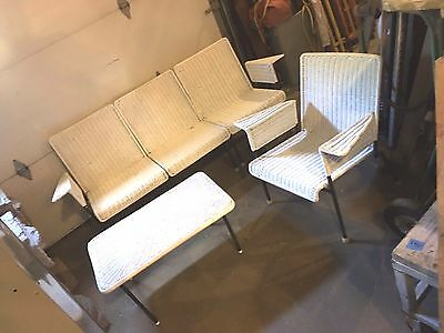 Vintage Late 1950s Early 1960s White Wicker Patio Sectional Mid Century Modern