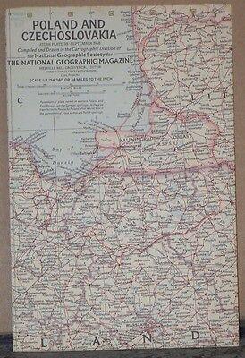 Vintage 1958 National Geographic Map of Poland and Czechoslovakia