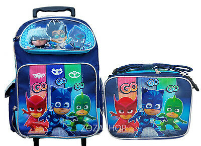 "PJ MASKS 16"" Large Rolling Backpack & Lunch Bag 2 pc set NEW!! Roller Backpack"