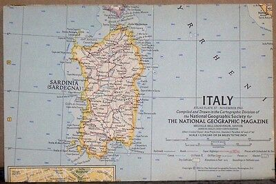 Vintage 1961 National Geographic Map of Italy
