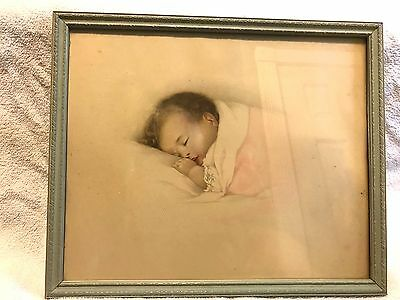 VINTAGE LITHOGRAPH by BESSIE PEASE GUTMANN SLEEPING BABY GIRL NURSERY WALL PRINT