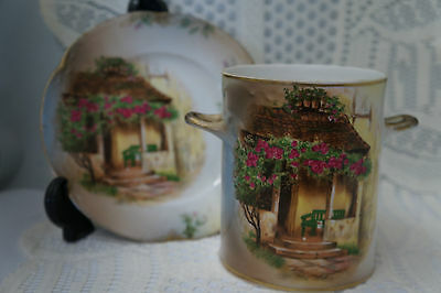 Antique Alice Bavaria JHR Handpainted Condensed Milk Creamer and Underplate