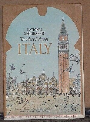 Vintage 1970 National Geographic Traveler's Map of Italy with Historical Notes