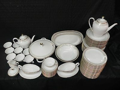 Vintage 79 Pieces of Royal Bayreuth Bavaria 99 Gold Rim Moder China Dinnerware