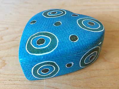 SWAHILI MODERN Heart Shape Trinket Jewelry BOX, Kenya, Abstract Circles
