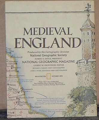 Vintage 1979 National Geographic Map of Medieval England