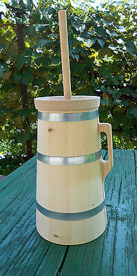 Wooden Butter Churn with Plunger Lid Handmade 3 Liter 0.8 Gallon Natural Wood