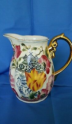 Oriental Accent LTD,  Hand Painted Pitcher, With Gold Trim and Handle Gold Color
